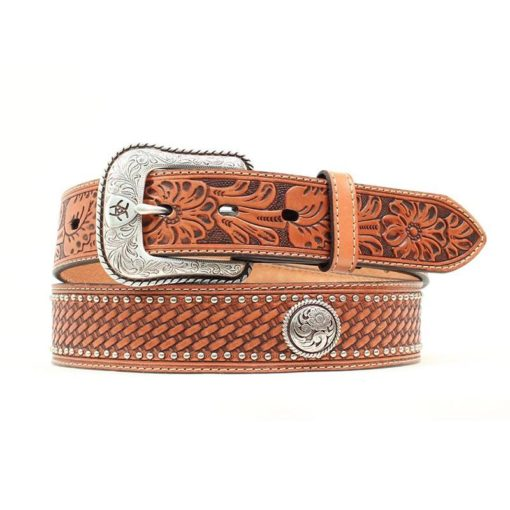 Cinto Ariat Mod A1015608 Color Miel Con Conchos Y Remaches