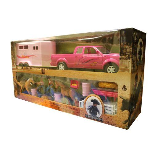 Camioneta Ford Lobo Con Remolque Rosa y Barriles