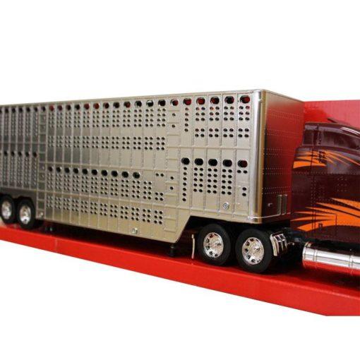 Camion Peterbilt Rojo Con Remolque Ganadero