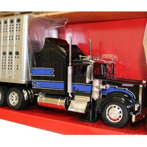 Camion Kenworth W900 Negro Con Remolque Ganadero