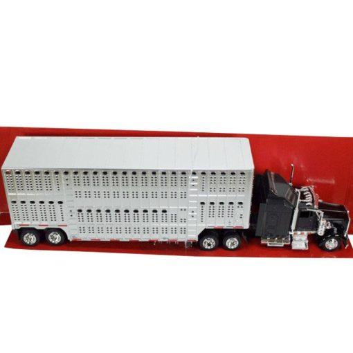 Camion Kenworth Negro Con Remolque Ganadero